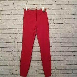 New York and Company High Waist Slim Red Pants